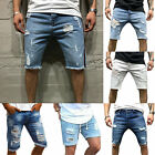 Men Denim Shorts Distressed Ripped Half Pants Jeans Casual Shorts Trousers US