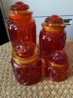 LE Smith Red Amberina Glass Canisters Set Of 4