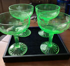 Vintage Etched Green Depression Glass Champagne Wine Glass Goblet Lot of 4 Glows