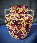Incredible Victorian Cranberry Moser Gilt and enameled vase