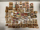 Lot Of 85 Rubber Stamps AMAZING MIX flowers hearts Bunnies Dinosaurs More