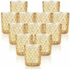 Gold Votive Candle Holders Set of 12 Mercury Glass Tealight Holder for Table