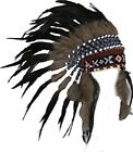 Native American Indian Inspired Feather Short Length Headdress Natural Color