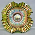 C045 Fenton STIPPLED RAYS Green Carnival 10 Double Crimped Square Footed Bowl
