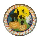 Peggy Karr Glass Inc Retired 11 inch trick or treat plate Ghosts Black Cat