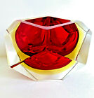 Murano Art Glass Mandruzzato Faceted Sommerso Tri Colored Bowl Red Amber Clear
