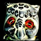 Vintage Owl Figurine Glass Eyes Glossy Gray White Statue Magic Wiccan Signed 70
