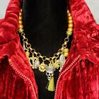 SKULL Charms Necklace GOTHIC Golden Pearl 18 Festival Cosplay Halloween