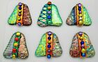 set 6 pcs DICHROIC FUSED GLASS T19 CABOCHON for WIRE WRAPPING PENDANTS