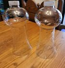 PAIR 2 ANTIQUE LARGE ETCHED CLEAR GLASS CRYSTAL SHADE GWTW OIL PARLOR 11X5 OLD