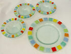 Hand made glass 4pc Lot Multi Color Design 3 Round Bowls and 1 Platter Plate
