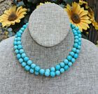 Signed Robert deMario NYC Double Strand Beaded Turquoise Glass Necklace Read