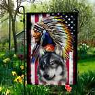 Indian Chief Native American With Wolf Outdoor Indoor Decorative Garden Flag