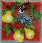 Signed Retired Peggy Karr Fused Glass Art Partridge Pear Tree Square Platter New