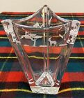 Very Thick Glass Triangle Clear Glass Vase Art African Safari Scene Etched