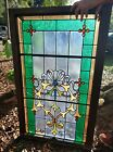ANTIQUE STAINED GLASS window Beautiful 45x28 early 1900s
