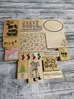 Huge Lot of Crafting Rubber Stamps Christmas Themed Wood Mount Set stampabilitie