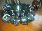 Indiana Glass Harvest Grape Blue Carnival PUNCH BOWL w 12 Cups 12 Hooks