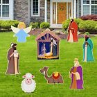 Holy Nativity Yard Signs with Stake 8 Pcs Nativity Sets for Christmas