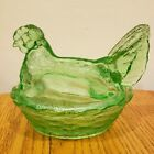 Perfect Vintage Green Glass Chicken Hen Nest Basket Covered Candy Dish Jar Bowl