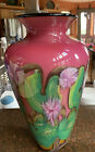 John Fields Signed Studio Art Glass Vase Lily Pads With White And Fuchsia Flower