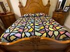 Over king Size Machine pieced Stain Glass patchwork quilt top179 2
