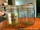 Set of 2 Vintage Royal Jelly Wire Bail Lidded Glass Jars Canisters Farmhouse