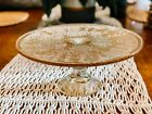 Vintage Carnival Glass Cake Stand Amber Glass