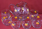 Vintage SET Pitcher with Ice Lip  6 Glasses Hand Painted Oranges