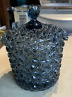 Vintage Fenton Glass Dark Blue Daisy and Button Ice Bucket Candy Dish KWith Lid