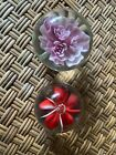 2 Vintage Glass Flower Paperweight Floral Art Glass Unsigned