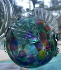 Collectible Art Glass Stained Glass Puffer Fish 6 inches