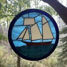 Vintage Stained Glass Window Art Sail Boat 1994 Artist Signed