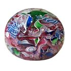 Scrambed Colorful Millefiori Art Glass Paperweight Signed