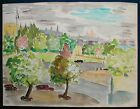 SUPERB WATERCOLOR PAINTING FAUVISM FAUVIST 1960 SIGNED CITY AND FORT