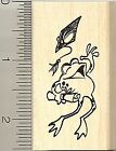 Graduation frog rubber stamp E9211 Wood Mounted happy