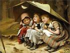 3 Vintage VICTORIAN Girls CAT Kitten CANVAS Art LARGE