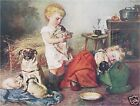 VICTORIAN Children PUGS Vintage CANVAS Dog Art LARGE