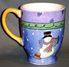 SWEET SHOPPE SANGO SUE ZIPKIN COFFEE MUG SNOWMAN PURPLE