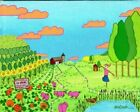PIG FARM & SunFLOWERS & Pumpkins - Landscape Barn ORIGINAL Folk Art PAINTING