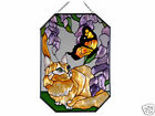 7X10 ORANGE TABBY CAT Kitty Floral Butterfly Stained Art Glass Suncatcher