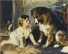 CANT YOU TALK Victorian BABY Collie CANVAS Giclee Art Print LARGE 19 x 13