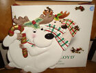 FITZ & FLOYD PLAID CHRISTMAS REINDEER CANAPE PATE~2063/ 124