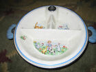 Vintage baby plate ceramic metal warmer so cute bunnies Thermo-plate
