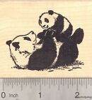 Giant Panda Bear Baby with Mom Mothers Day Rubber Stamp J17010 WM