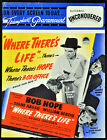 WHERE THERES LIFE 1947 Bob Hope Signe Hasso William Bendix TRADE ADVERT