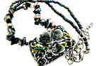 3D Enamel Flowers beaded glass  gemstone pearl fashion necklace hand crafted