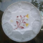 Antique Germany Majolica Napkin Plate Gray Basketweave Brown Yellow Flowers