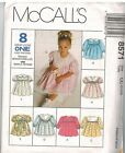 8571 Uncut Vintage Mccalls Sewing Pattern Toddler Little Girls Zip Up Dress Oop