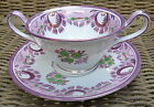 Antique Wedgwood A7424 Lavender Purple Green Bouillon Handled Bowl /Cup & Saucer